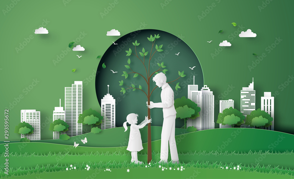Fototapeta green city with family