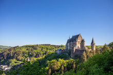 View Of The Castle In The Mountains. Vianden. Luxembourg