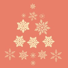 Christmas Tree Of Yellow Snowflakes On A Coral Background