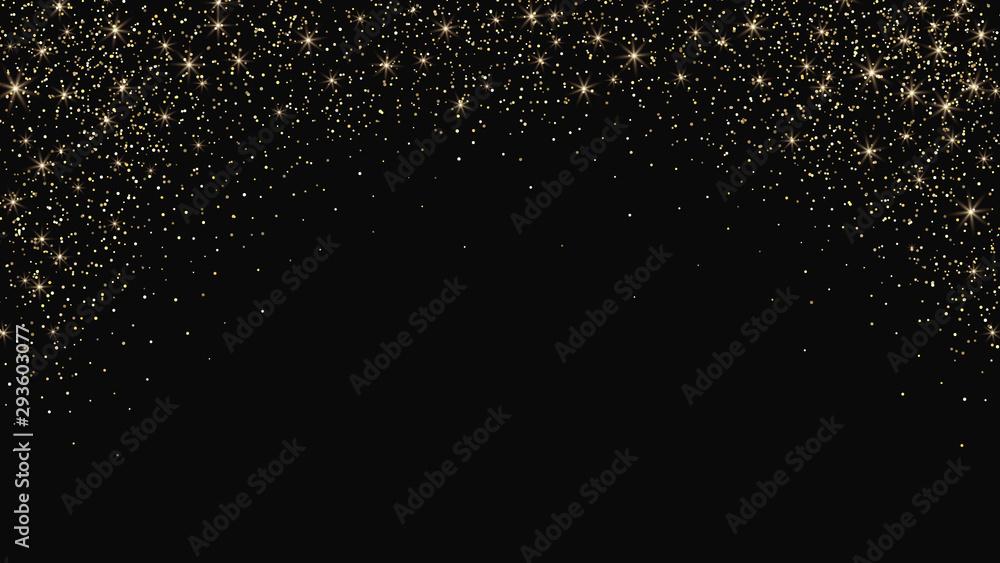 Fototapeta Gold dust on black background