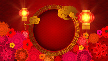 Chinese New Year, Year Of The Rat 2020 Also Known As The Spring Festival. Digital Particles Background With Chinese Ornament And Decorations For Seasonal Greeting Video Background