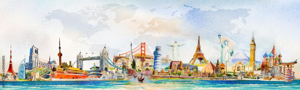 Fototapeta World travel and sights. Famous landmarks of the world.