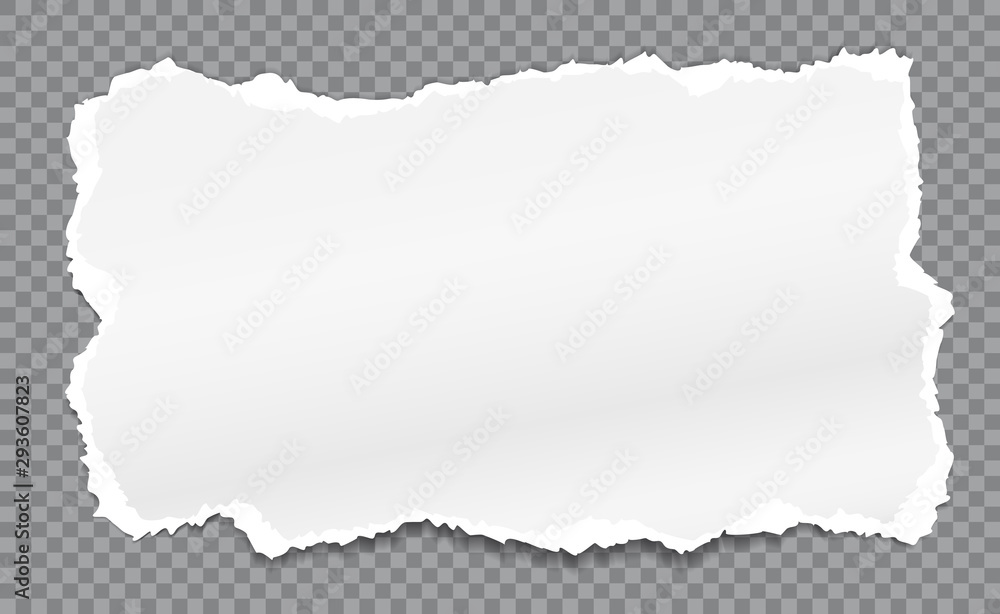 Fototapety, obrazy: Piece of torn, white realistic paper with soft shadow is on squared grey background. Vector illustration
