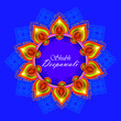canvas print picture - Illustration of burning diya on Shubh Deepawali Holiday background for light festival of India