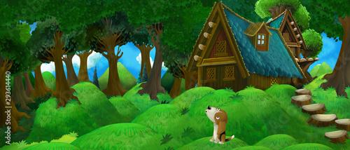 kreskówka letnia scena z wiejskim domu w lesie z szczęśliwym psem - ilustracja dla dzieci