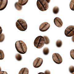 Fototapeta Do kawiarni Roasted coffee beans seamless pattern or falling