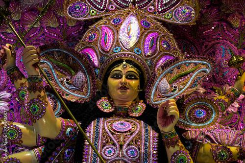 Obraz na plátně  A idol of goddess Durga in the Durga puja festival