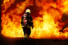 Fireman Wearing Fire Fighter Suit For Safety Under Danger Situation To Fighting With Flame In An Emergency Situation, Firefighter Training