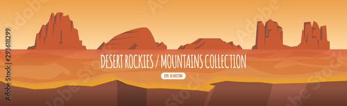 Fototapeta Desert rocky mountain, hill and canyon collection, western style landscape cartoon illustration template obraz
