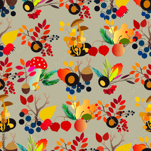 Fototapeten Künstlich Autumn vector seamless pattern with berries, acorns, pine cone, mushrooms, branches and leaves.