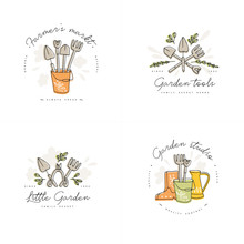 Vector Set Of Logos, Badges And Icons For Farmers And Garden Tools. Collection Symbol Of Gardening.