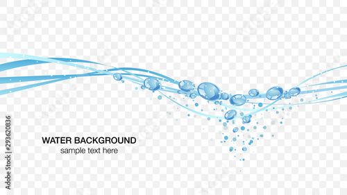 Fotografie, Obraz Water and bubbles water surface image, transparent background vector illustratio