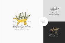Vector Hand Drawing Logo Or Badge And Icon For Gardening Or Flowers Shop. Collection Symbol Of Watering Can With Green Branches.
