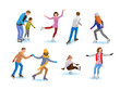 Vector set of various people skating on ice rink