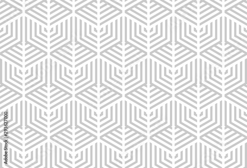 Fototapety, obrazy: Abstract geometric pattern with stripes, lines. Seamless vector background. White and grey ornament. Simple lattice graphic design.