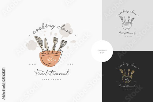 Fototapeta Cooking class linear design elements, set of kitchen emblems, symbols, icons or food studio labels and badges collection. Cooking courses signs template or logo, identity, culinary school. obraz