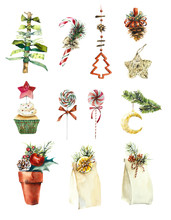 Watercolor Set Of Christmas El...