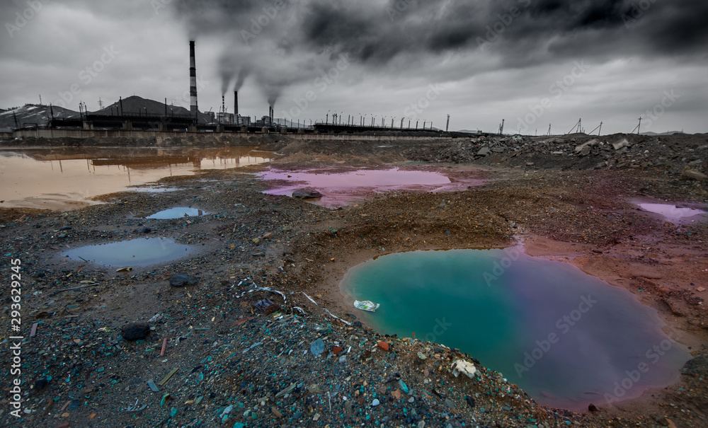Fototapeta landscape with ecology pollution
