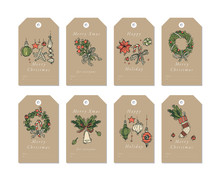 Vector Linear Design Christmas Greetings Elements On Craft Paper Background. Christmas Tags Set With Typography And Colorful Icon.