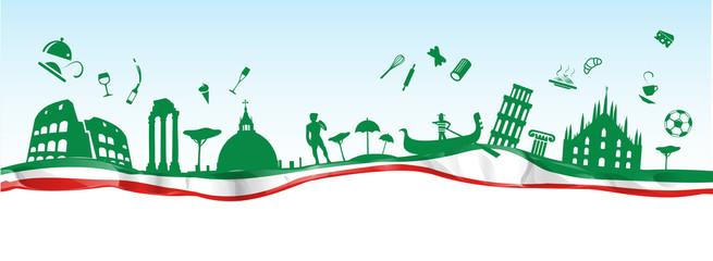 talijanski transparent s spomenikom simbola na zastavi