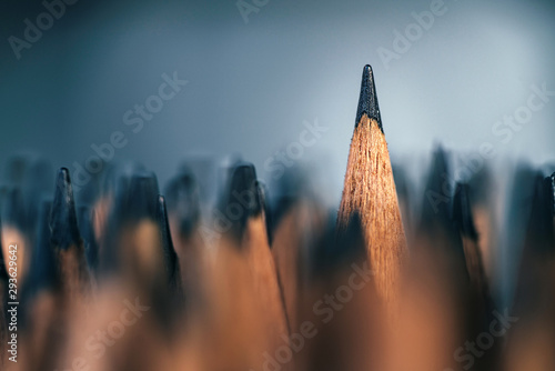 Obraz Close-up pencils. Business leadership concept - fototapety do salonu