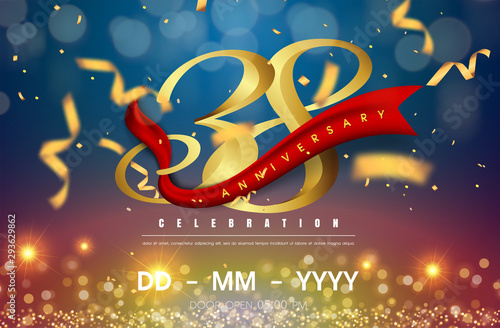 Fotografia  38 years anniversary logo template on gold and blue background