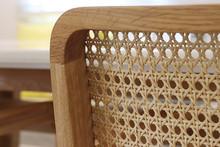 Closeup Of Wood Chair With Rattan, Beautiful  Oak Wood Texture Surface , Rattan Pattern.