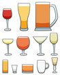 Set of twelve glasses with different beverages