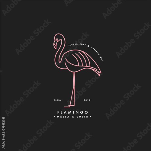 Canvas Print Vector linear neon logo design flamingo bird on white background