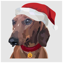 Low Poly Happy Christmas Dachs...