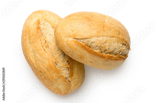 Valokuva Two white french bread rolls isolated on white from above