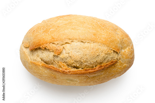 White french bread roll isolated on white from above. Top view. Canvas-taulu
