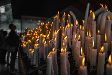 Candles At The Pilgrimages Place In Lourdes
