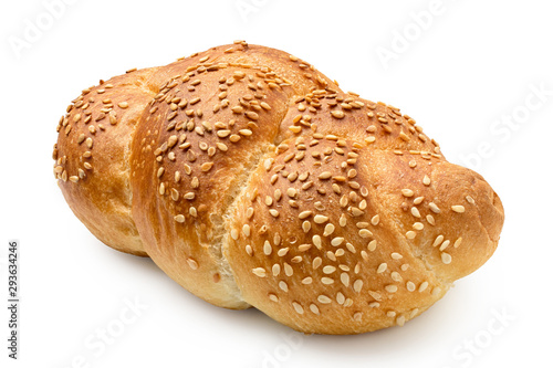 Plaited white bread roll with sesame seeds isolated on white.