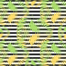 Seamless Tropical Vintage Palm Pattern On Zebra Background