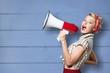 canvas print picture Portrait of woman holding megaphone