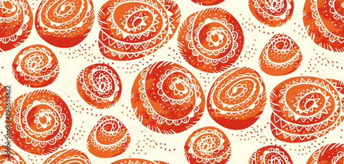 fototapeta na ścianę Cute cinnamon bun winter bakery seamless pattern