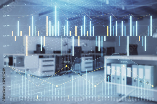 Poster Aeroport Stock market chart with trading desk bank office interior on background. Double exposure. Concept of financial analysis