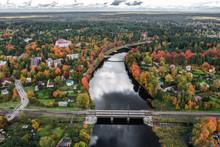 Golden Autumn. Shot With Drone. Ogre, Latvia.