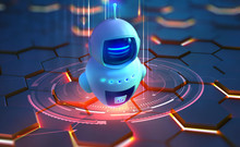 Internet Bot In AI Cyberspace. Digital Technology And Wireless Networks. Bot, Robot, Drone, Artificial Intelligence 3D Illustration