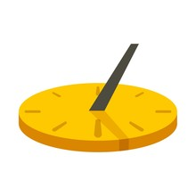 Old Sundial Icon. Flat Illustration Of Old Sundial Vector Icon For Web Design