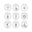 Leinwandbild Motiv Vector set of logos, badges and icons for natural and organic products. Eco safe sign design. Collection symbol of healthy products.