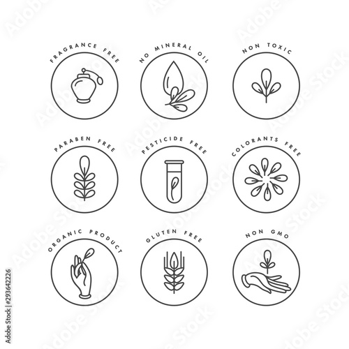 Vector set of logos, badges and icons for natural and organic products Fototapet