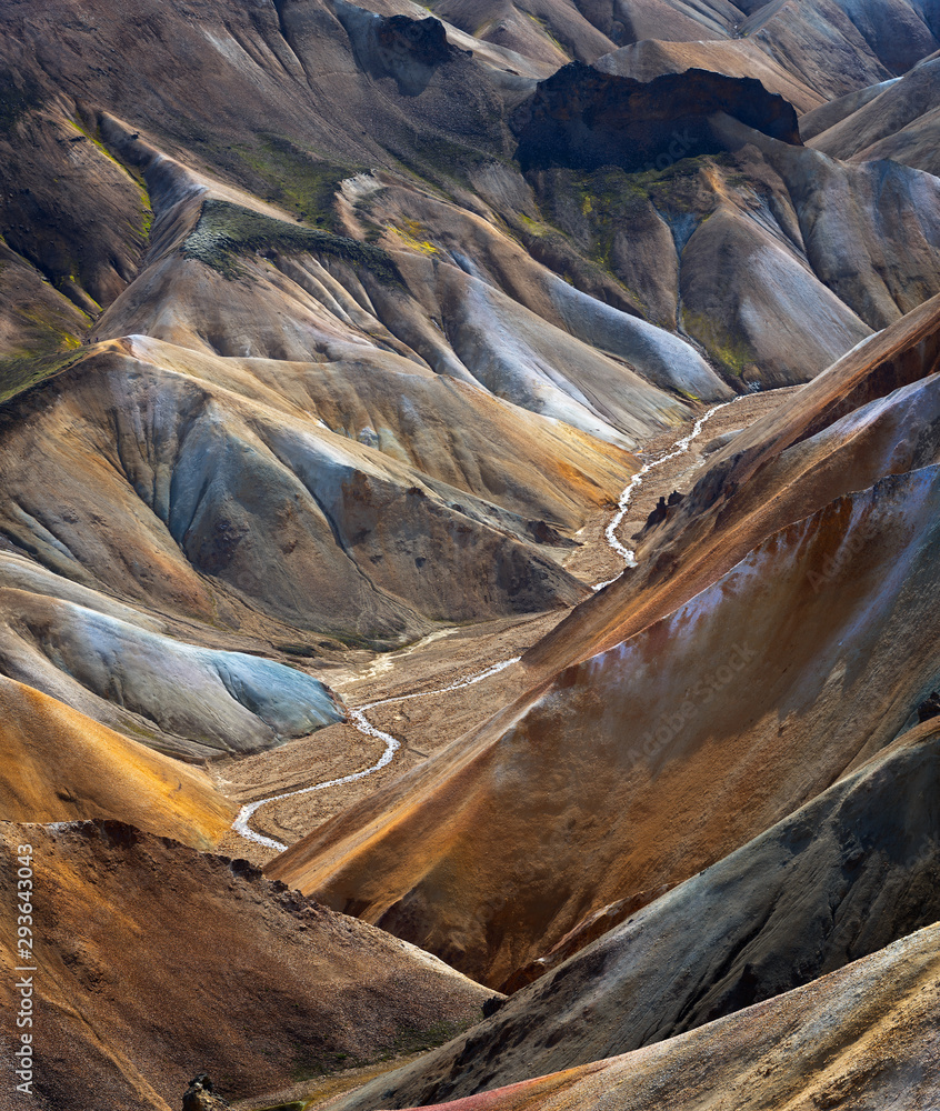 Fototapety, obrazy: River along a Valley in Landmannalaugar among colorful mountains, Iceland