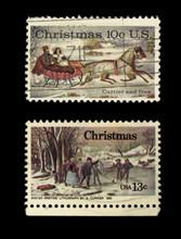 Briefmarken Stamps Weihnachten Christmas Winter USA Amerika America 1855 Winter Pasttime By Currier And Ives Gestempelt Schlitten Schlittschuhlaufen Vintage Retro