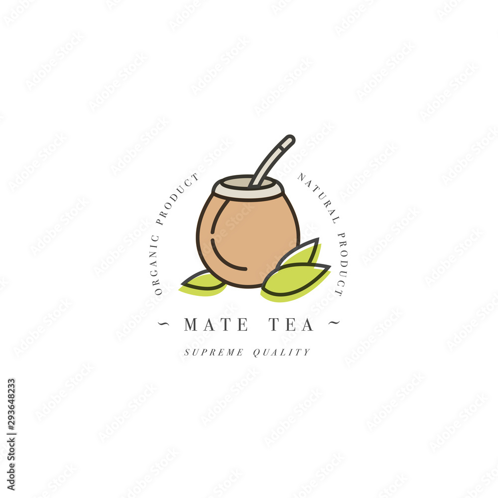 Fototapeta Packaging design template logo and emblem - mate tea. Logo in trendy linear style isolated on white background.