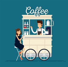 Creative Detailed Vector Street Coffee Cart Or Shop With Espresso Machine, Syrup Bottles, Disposable Cups And With Seller. Young People Having A Coffee.