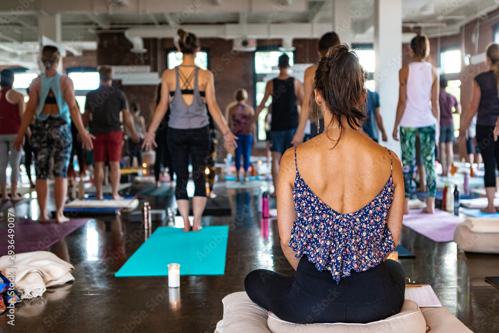 Fototapety, obrazy: Diverse group of people in yoga class. A young woman with healthy bronzed skin is viewed from the rear as she sits in a meditative pose during a workshop dedicated to 108 rounds of surya namaskar.