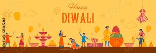 Photo  illustration of Indian people celebrating on Happy Diwali Hindu Holiday backgrou
