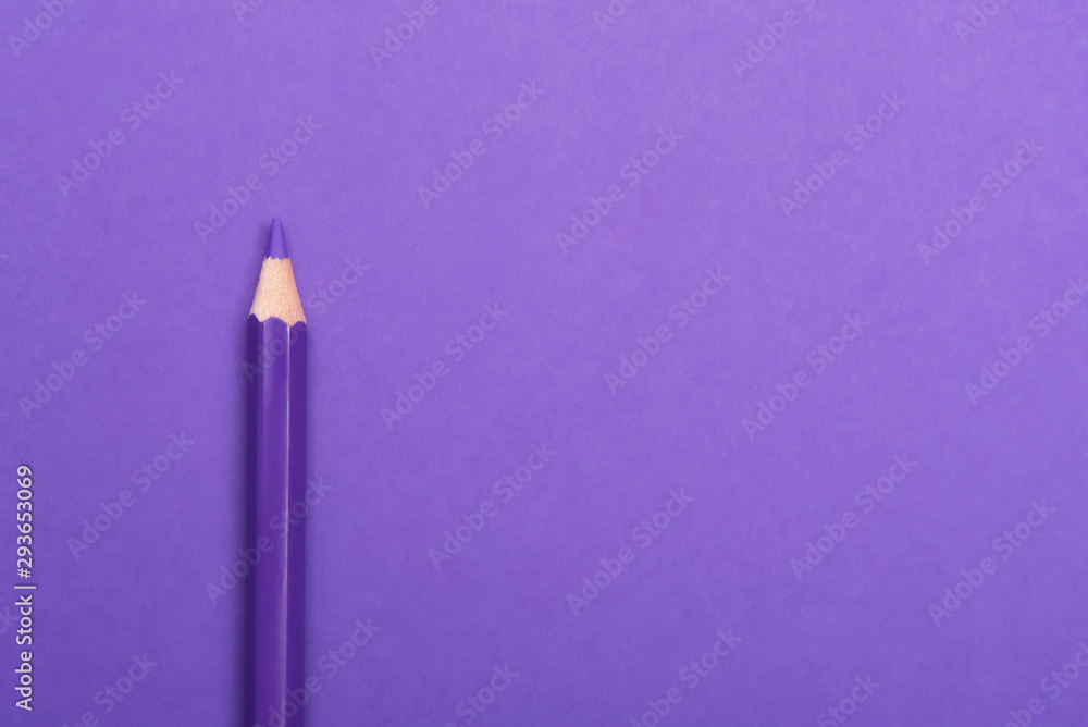 Fototapety, obrazy: Colorful pencil on purple background, top view. Space for text